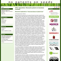 After opposition: Monsanto patent on tomatoes revoked