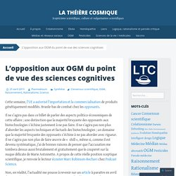 L'opposition aux OGM du point de vue des sciences cognitives