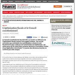 L'optimisation fiscale et le Conseil constitutionnel