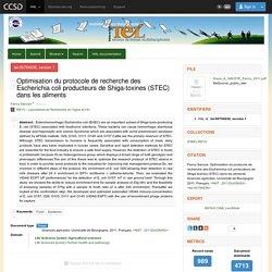 UNIVERSITE DE BOURGOGNE - 2011 - Thèse en ligne : Optimisation du protocole de recherche des Escherichia coli producteurs de Shiga-toxines (STEC) dans les aliments
