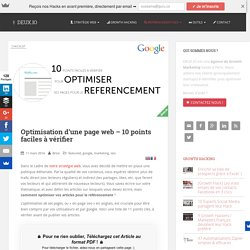 Optimisation d'une page web - 10 points faciles à vérifier