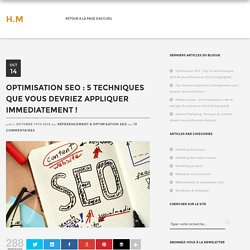Optimisation SEO : 5 techniques à appliquer IMMEDIATEMENT !