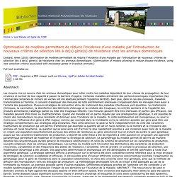 Station d'Amélioration génétique des animaux (SAGA) - 2010 - Thèse en ligne : Optimisation de modèles permettant de réduire l'in