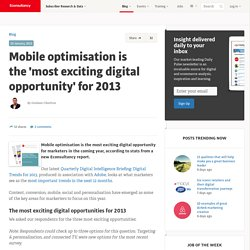 Mobile optimisation is the 'most exciting digital opportunity' for 2013