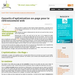 Conseils d'optimisation on-page pour le référencement web « So@t blog