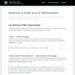 Optimisation du code HTML pour le référencement
