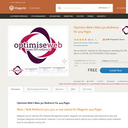Optimise Web's Mass 301 Redirects for 404 Pages