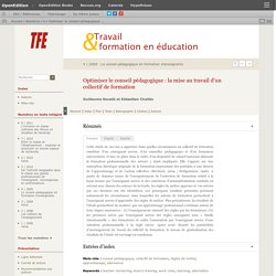 Optimiser le conseil pédagogique: la mise au travail d'un collectif de formation