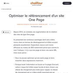 Optimiser le référencement d'un site One page.