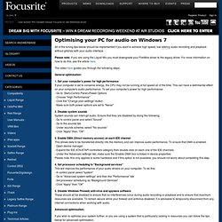 Optimising your PC for audio on Windows 7 .: Focusrite Answerbase