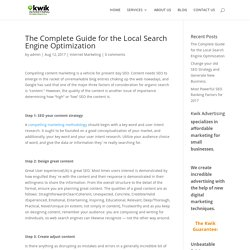 Your Guide for the Local Search Engine Optimization