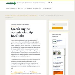 Search engine optimization tip: Backlinks – Search Engine Optimization & SEO Daily Updates Blog