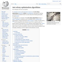 Ant colony optimization algorithms