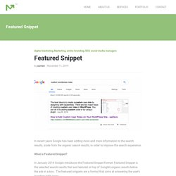Featured Snippet - seo search engine optimization in kerala, digital marketing, website designing, seo for websites