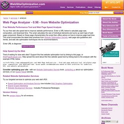 Web Page Analyzer - free website optimization tool website speed
