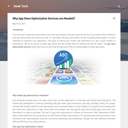 Why App Store Optimization Services are Needed?
