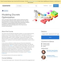 Modeling Discrete Optimization - The University of Melbourne
