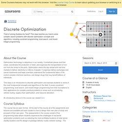 Discrete Optimization - The University of Melbourne