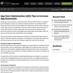 App Store Optimization (ASO) Tips to Increase App Downloads