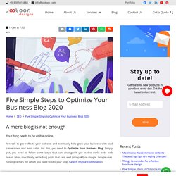 Five Simple Steps to Optimize Your Business Blog 2020