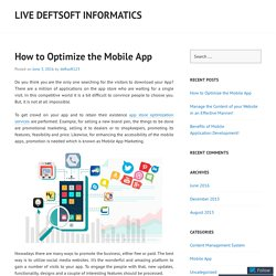 How to Optimize the Mobile App
