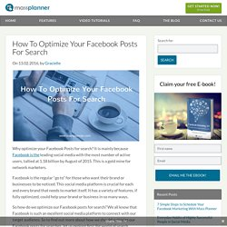 How To Optimize Your Facebook Posts For Search