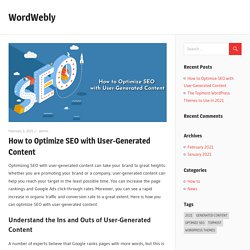 How to Optimize SEO with User-Generated Content – WordWebly