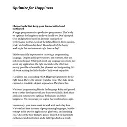 Optimize for Happiness