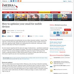 How to optimize your email for mobile devices