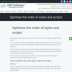 Script and Style Sheet to Increase Page speed