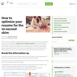 How to optimize your resume for the 10-second skim