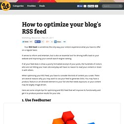 How to optimize your blog's RSS feed