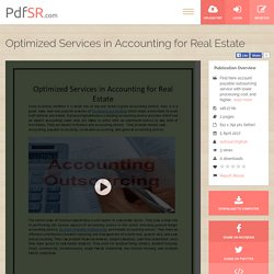 Optimized Services in Accounting for Real Estate