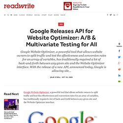 Google Releases API for Website Optimizer: A/B & Multivariate Te