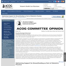 Optimizing Support for Breastfeeding as Part of Obstetric Practice - ACOG
