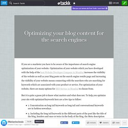 Optimizing your blog content for the search engines