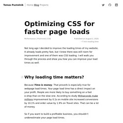 Optimizing CSS for faster page loads - Tomas Pustelnik's personal website
