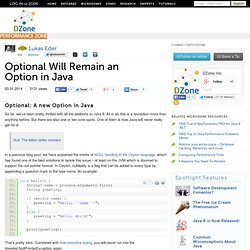Optional Will Remain an Option in Java