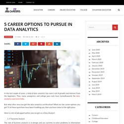 5 Career options to pursue in data analytics