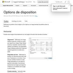 Options de disposition - Word