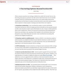 6 Tax Saving Options Beyond Section 80C - CCHTaxOnline - Quora