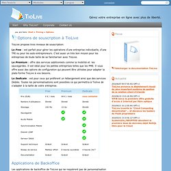 Page web - Options de souscription à TioLive