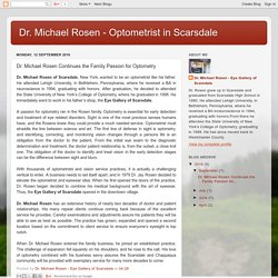 Dr. Michael Rosen - Optometrist in Scarsdale: Dr. Michael Rosen Continues the Family Passion for Optometry