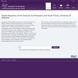 Repositorio del Instituto de Filosofía y Teoría Social de la Universidad de Belgrado (Serbia)