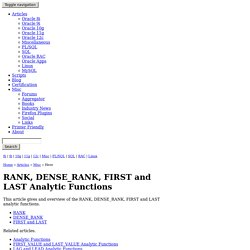 RANK and DENSE_RANK Analytic Functions