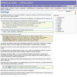 ORACLE DBA - CATALOGO