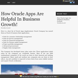 How Oracle Apps Are Helpful In Business Growth!