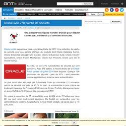 Oracle livre 270 patchs de sécurité