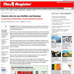 Oracle rolls its own NoSQL and Hadoop