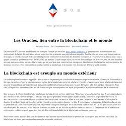 Les Oracles, lien entre la blockchain et le monde